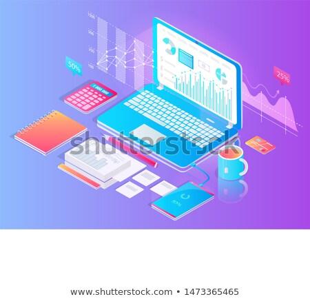 Munkaterület tabletta hasznos asztali dolgozik vektor Stock fotó © robuart