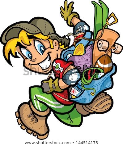 skateboarder smiling blond boy vector illustration stock photo © robuart