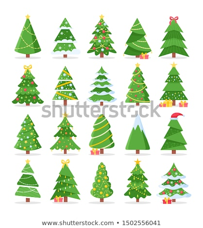 Set of Winter Trees Icons Vector. New Year Plants Stock photo © robuart