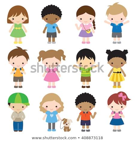 Asian Girl Kindergarten Kid Poses Set Vector. Preschool, Childhood. Friend. For Postcard, Cover, Pla Stock photo © pikepicture