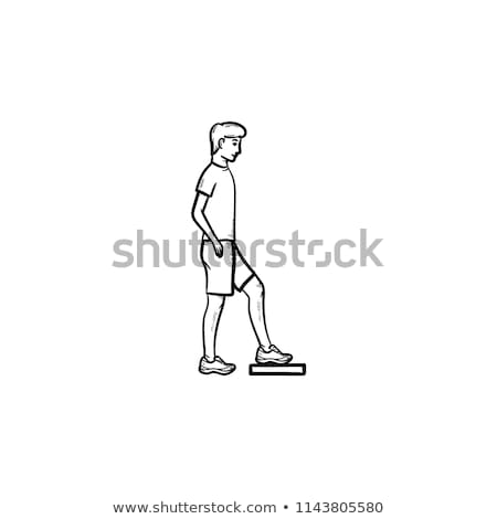 aerobic stock vectors illustrations and cliparts stockfresh I'm Back Emoticon man doing step aerobics hand drawn outline doodle icon stock photo rastudio