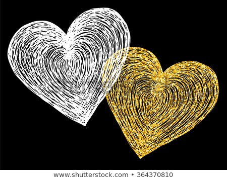 Stockfoto: Artistiek · gouden · harten · valentijnsdag · abstract · hart