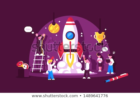 Red rocket start up space with people celebrating Stock photo © jossdiim