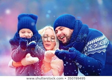 冬 家族の活動 子供 両親 ベクトル 母親 ストックフォト © robuart