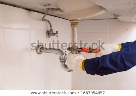 Encanamento tubo chave inglesa encanador casa Foto stock © Kurhan