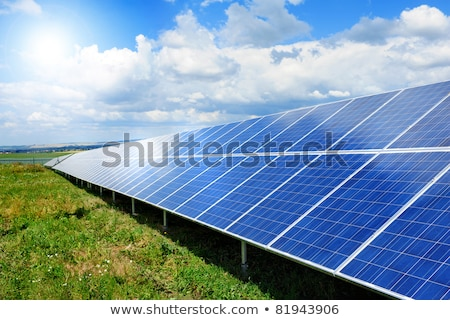 Solar panel on grass. Green renewable environmentally friendly electricity Stock photo © orensila