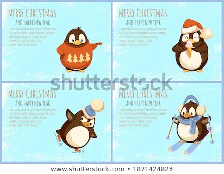 Сток-фото: Penguin on Skates and with Ice Cream Greeting Card