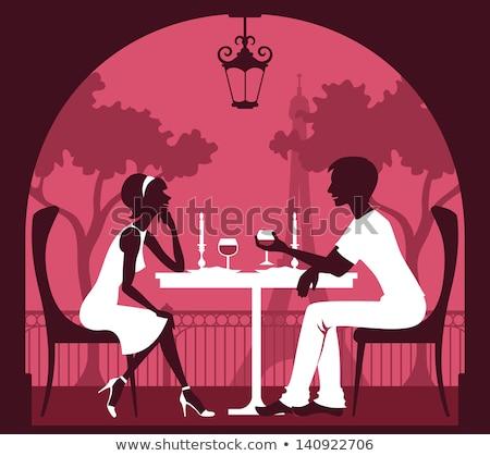 Mooi meisje roze jurk vergadering cafe tablet Stockfoto © ElenaBatkova