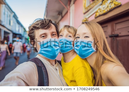 maman · fils · touristes · rue · style · phuket - photo stock © galitskaya