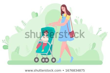 people walking with perambulator family pastime stock photo © robuart