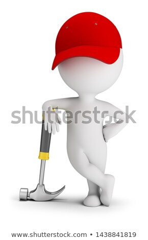 3d small people   repairman leaned on a hammer stock photo © anatolym