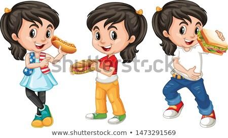 Muchos ninos cara feliz comer nina alimentos Foto stock © bluering