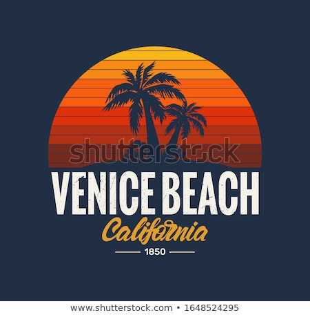 american flag and palm trees at venice beach Stock photo © dolgachov