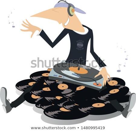 Cartoon · funny · ilustración · lp · auriculares · blanco · negro - foto stock © tikkraf69