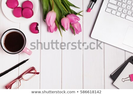 glasses tulips and accessories in pink color on white wooden table stock photo © elenabatkova