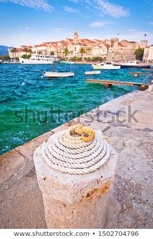 Historic town of Korcula vertical view Stock photo © xbrchx