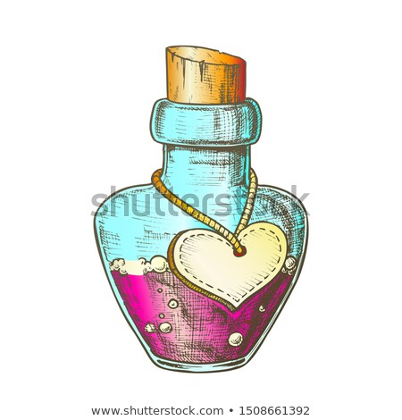Potion Bottle With Blank Heart Form Color Label Vector Stock photo © pikepicture