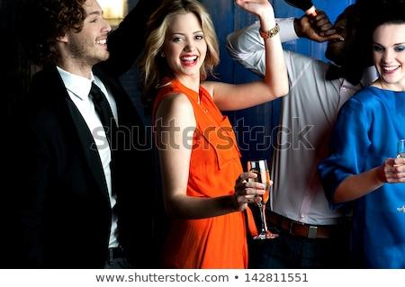 çift · şampanya · cam · restoran - stok fotoğraf © wavebreak_media