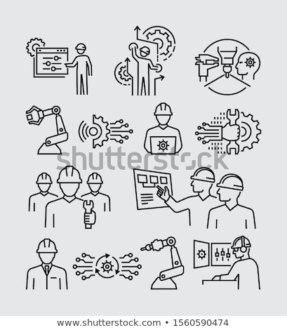 Construction Workers and Equipment Machinery Set Stock photo © robuart