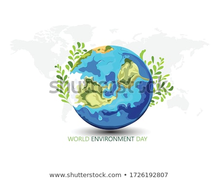 Environment Day card of green recycle symbol  Stock photo © cienpies