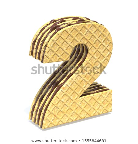 Waffles font with chocolate cream filling Number 2 TWO 3D Stock photo © djmilic