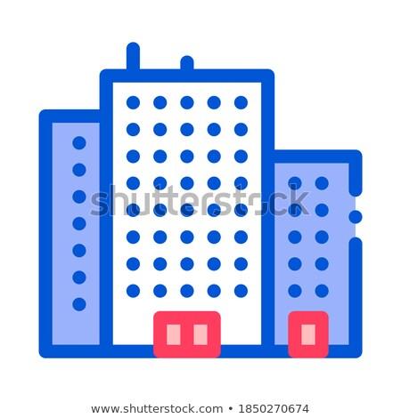 Tenement House Skyscraper Vector Thin Line Icon Stock photo © pikepicture