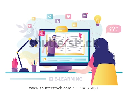 On-line estudante aprendizagem internet vetor vídeo Foto stock © robuart