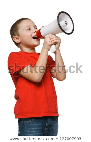 smiling boy speaking to megaphone Stock photo © dolgachov