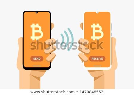 Okostelefonok tranzakció operáció küld fogad bitcoin Stock fotó © karetniy
