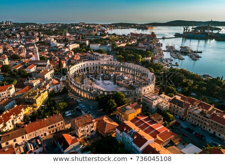 Arena Pula historic Roman amphitheater ruins view Stock photo © xbrchx
