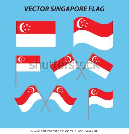Szingapúr zászló kéz fehér szabadság Ázsia Stock fotó © butenkow