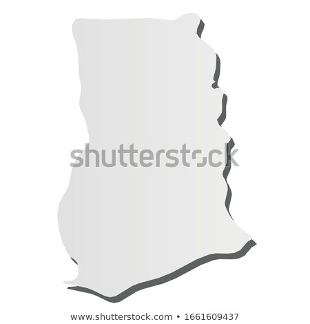 Ghana country map, simple black silhouette on gray Stock photo © evgeny89