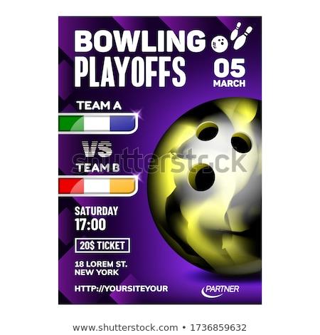 Bowling élvezet tevékenység sport poszter vektor Stock fotó © pikepicture