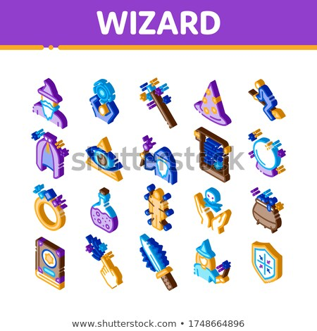 Wizard Magic Equipment Isometric Icons Set Vector Stock photo © pikepicture