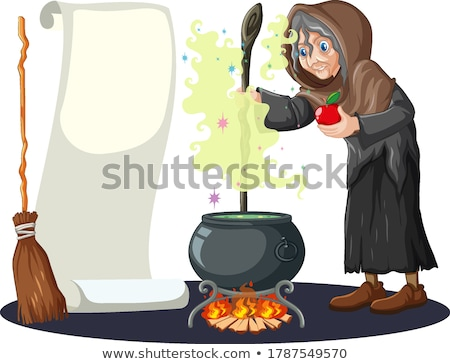Broomstick with spell cartoon style on white background Stock photo © bluering