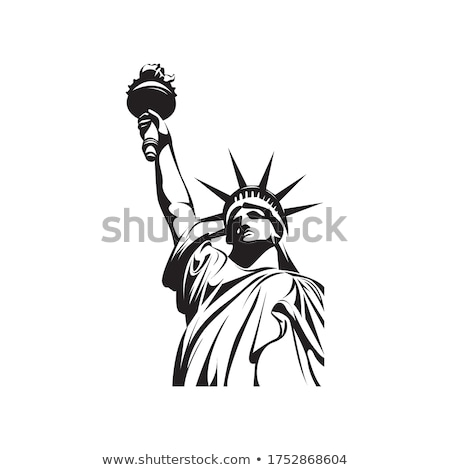 estatua · libertad · bandera · silueta · isla · blanco - foto stock © sdmix