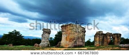 silhouette of mor hin khao thailand stonehenge with beautiful stock photo © vichie81