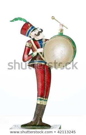 Toy Soldier Drum Player Isolated White Stock fotó © mkm3