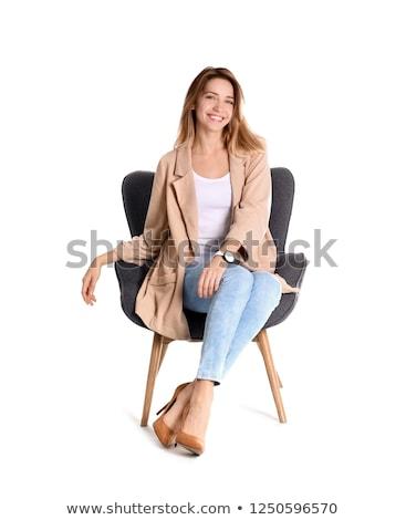 Kadın oturma koltuk moda kırmızı ayakkabı Stok fotoğraf © phbcz