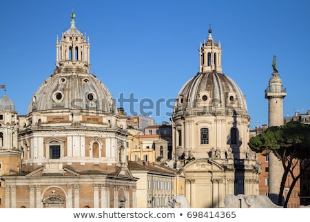 Traian column and Santa Maria di Loreto in Rome, Italy stock photo © vladacanon