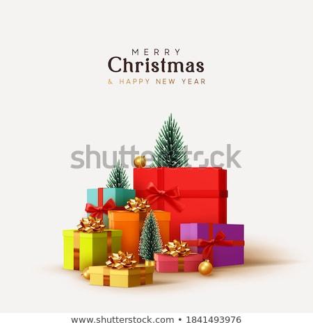 Foto stock: Rojo · Navidad · regalo · abierto · oro · cinta