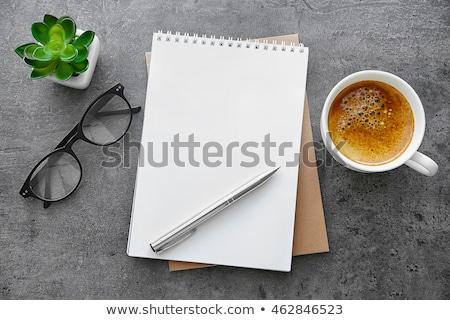 Zöld csésze levélpapír forró kávé fa Stock fotó © Witthaya