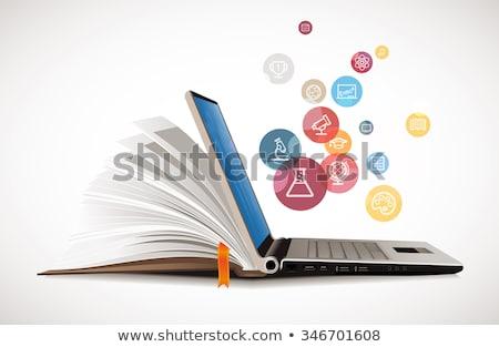 Online oktatás számítógép billentyűzet könyv oktatás kulcs képzés Stock fotó © REDPIXEL