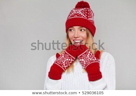 Meisje warm wollen hoed gebreid winter Stockfoto © stuartmiles