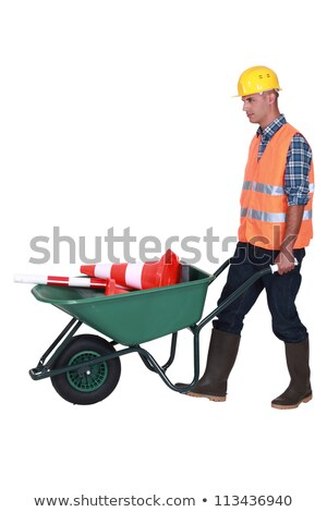 bricklayer with wheelbarrow and construction cone Stock photo © photography33