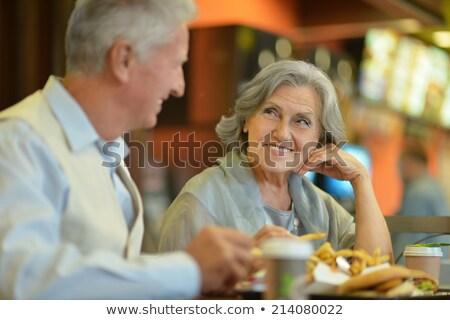 Casal velho alimentação restaurante família vinho rosa Foto stock © photography33