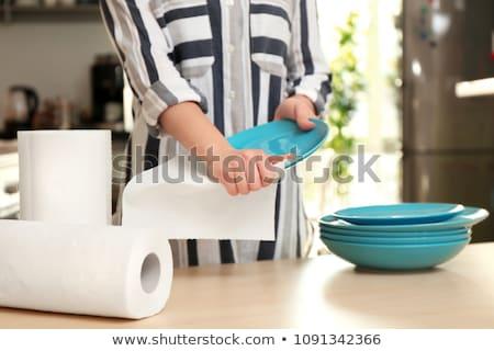 白 · キッチン · ロール · 紙 · ペーパータオル · 黒 - ストックフォト © prill