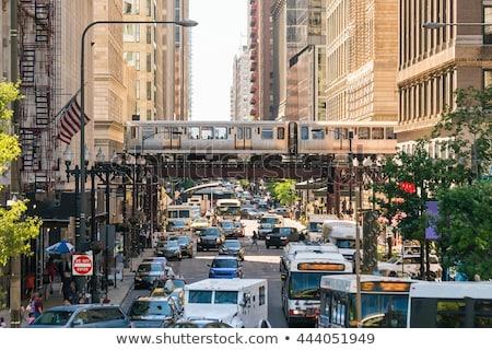 Foto stock: Centro · da · cidade · Chicago · nuvem · cor · arranha-céu