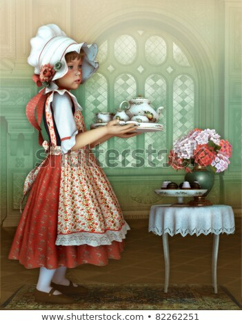 Nice girl in dress and bonnet Stock photo © acidgrey