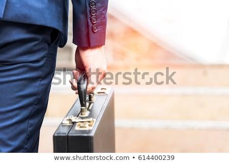 красивый · бизнесмен · костюм · Постоянный · портфель · белый - Сток-фото © photography33
